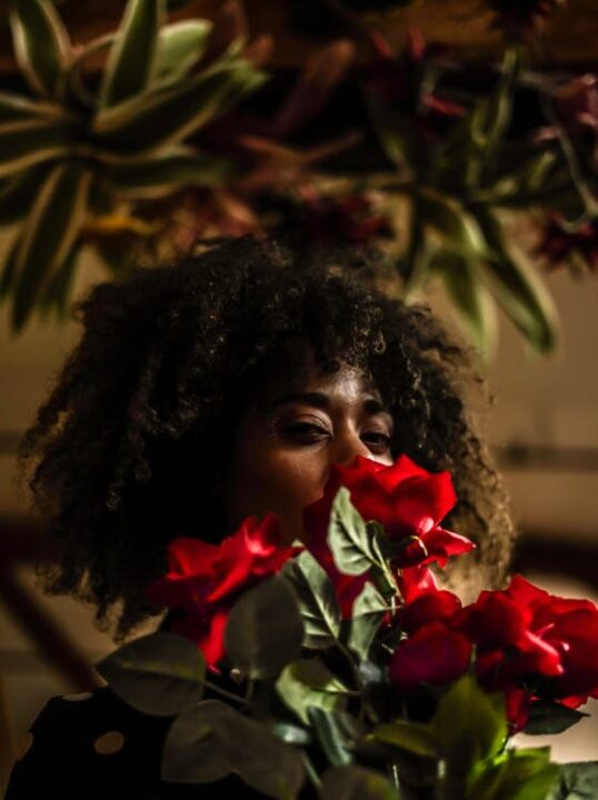 https://www.pexels.com/photo/woman-behind-red-flowers-1092214/