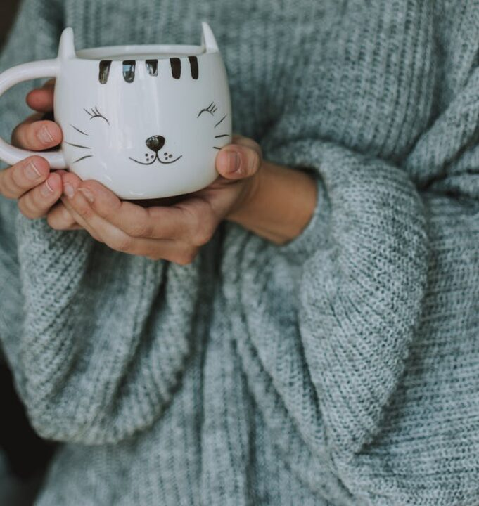 https://www.pexels.com/photo/crop-woman-in-warm-sweater-with-cat-cup-of-coffee-2747758/