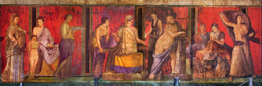 Fresko in der Mysterienvilla bei Pompeji